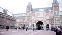 Rijksmuseum in Amsterdam, Netherlands Stock Footage