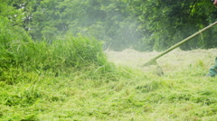 Cutting Grass with a Lawn Mover Stock Footage