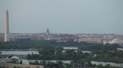 Washington DC cityscape and airplane on the sky Stock Footage