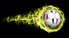 France Flag Soccer Ball in Yellow Flames Abstract Particles  Ring, Loop, 4k Stock Footage