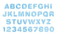 Water font. Latin alphabet made of water. Stock Illustration