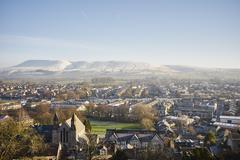Elevated view of town, Clitheroe, Lancashire, UK - stock photo
