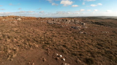 Aerial view of road through rocky landscape - stock footage