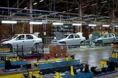 Samara region, Russia -Assembly line of LADA Cars Automobile Factory AVTOVAZ - Stock Photos