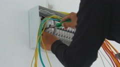 Electrician with circuit breaker Stock Footage