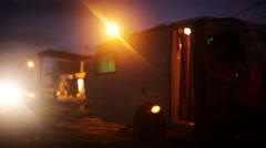 Travel camper at campsite at night Stock Footage