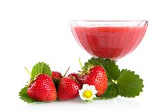 Fresh strawberries with goblet,leaves,flower isolated on white background - stock photo
