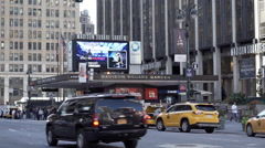 Slow motion shot of taxis lined up at Madison Square Garden, New York City Stock Footage