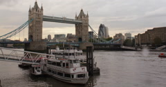 Tower Bridge crossing River Thames, London, England, Great Britain - stock footage