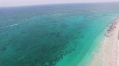 4K Aerial drone shot mexico tulum boat speeding Stock Footage