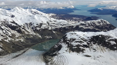 Passing Over Epic Alaskan Tidewater Glacier Bay over Alpine Peaks Aerial HD Stock Footage