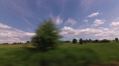 Car driving through the countryside and villages Stock Footage