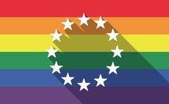 Long shadow gay pride flag with    the EU flag stars - stock illustration