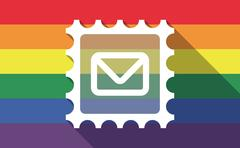 Long shadow gay pride flag with  a mail stamp sign - stock illustration