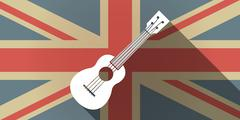 Long shadow UK flag icon with  an ukulele Piirros