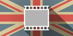 Long shadow UK flag icon with   a photographic 35mm film strip Stock Illustration