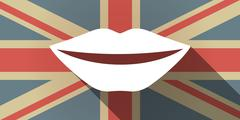 Long shadow UK flag icon with  a female mouth smiling - stock illustration