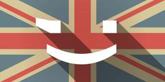 Long shadow UK flag icon with  a wink text face emoticon - stock illustration