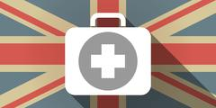 Long shadow UK flag icon with  a first aid kit icon - stock illustration