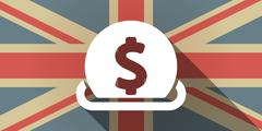 Long shadow UK flag icon with  a dollar coin entering in a moneybox Stock Illustration