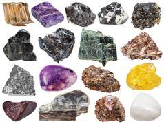 mineral stones - sphene, muscovite, knopite, etc - stock photo