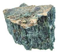 Rock of Chrysotile (green asbestos) isolated Stock Photos