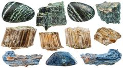 set of various Asbestos mineral stones isolated - stock photo