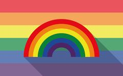 Long shadow gay pride flag with a rainbow - stock illustration