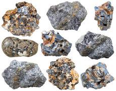 Set of Galena (galenite) natural mineral stones Stock Photos