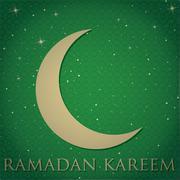 "Crescent moon ""Ramadan Kareem"" (Generous Ramadan) card in vector format. Stock Illustration"