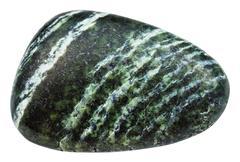 Tumbled gemstone of Chrysotile isolated on white Stock Photos