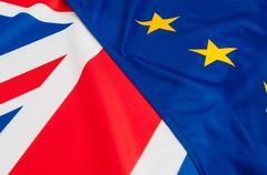 EU and UK Flags - stock photo