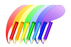 Colored pencils draw the rainbow. Vector EPS10 - stock illustration