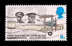 United Kingdom - Circa 1969: Commemorative stamp of the first aviation crossing  - stock photo