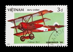 Vietnam - circa 1986: Mail stamp featuring the WW1 Fokker tri-plane flown by the - stock photo