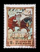 DPR Korea - circa 1984: Mail stamp featuring the 1066 Battle of Hastings. Stock Photos