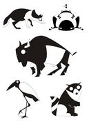 Vector original art animal silhouettes - stock illustration