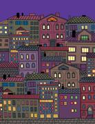 Hand drawn town - stock illustration