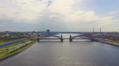 Aerial view of the Bolsheokhtinsky bridge across Neva River, Saint-Petersburg Stock Footage