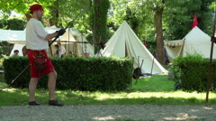 Renaissance Military Camp Training Stock Footage