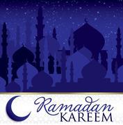 """Ramadan Kareem"" (Generous Ramadan) Mosque card in vector format. Stock Illustration"