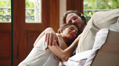 Couple enjoying afternoon nap together Stock Footage