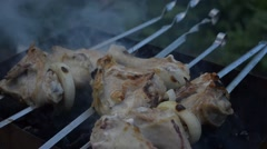 Skewers of chicken, grilled Stock Footage