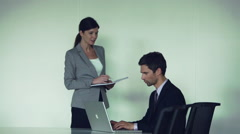 Office assistant meeting with executive - stock footage