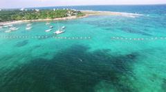 4K Aerial drone shot mexico toward above akumal island Stock Footage