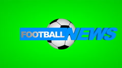 Football News. Animated heading on green screen. Stock Footage