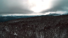 Aerial view over wintery landscape in Patagonia, South America Stock Footage