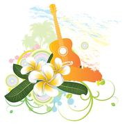 Tropical background with guitar - stock illustration