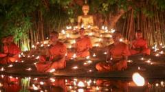 Visakha Bucha Day , Chiangmai, Thailand. - stock footage
