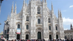 Square of Duomo in Milan Italy - Main sightseeing the Catholic cathedral Stock Footage